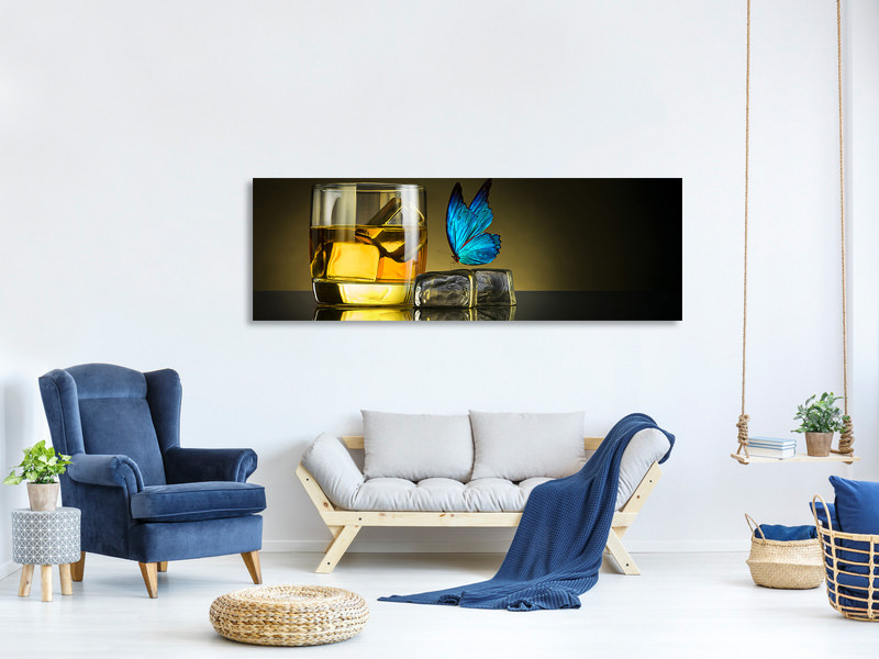 Panoramic Canvas Print Butterfly Drink