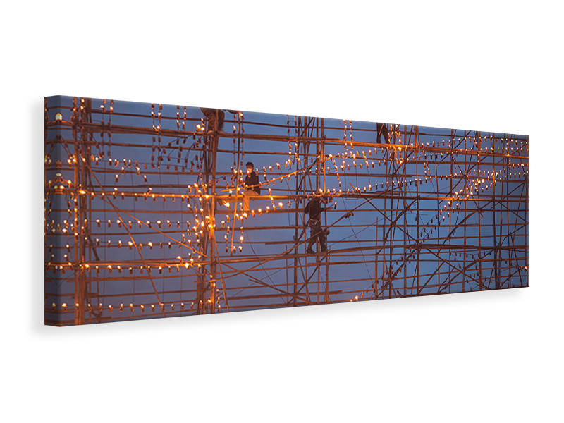 Panoramic Canvas Print The Festival Runs Ship Fire