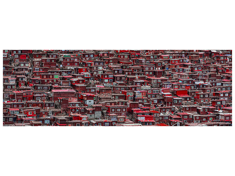 Panoramic Canvas Print Red Houses