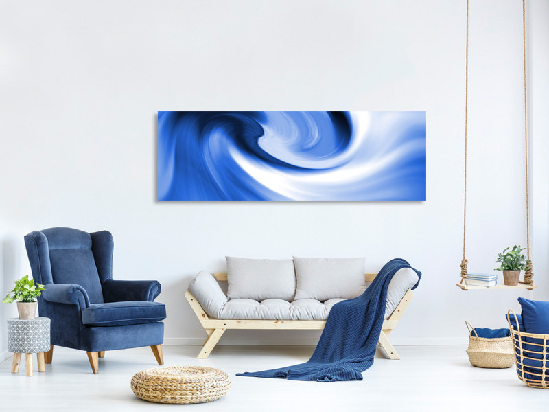 Panorama Canvastavla Abstract Blue Wave