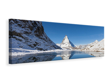 Panorama Canvastavla The Riffelsee On Matterhorn
