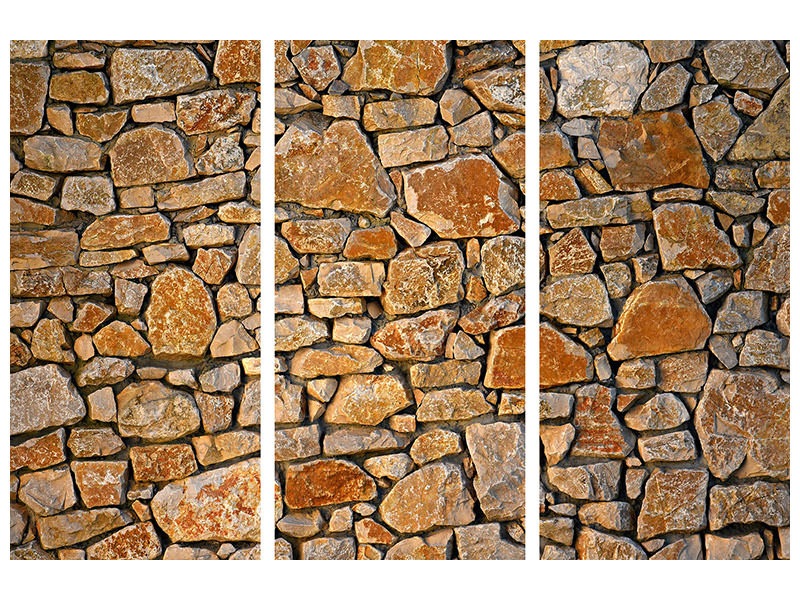3 Piece Canvas Print Nature stone wall