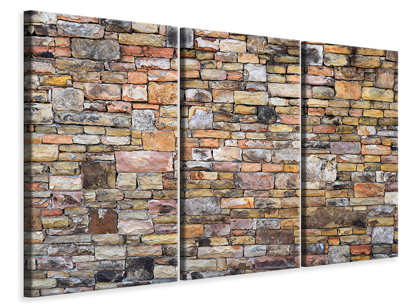 3 Piece Canvas Print Old stone wall