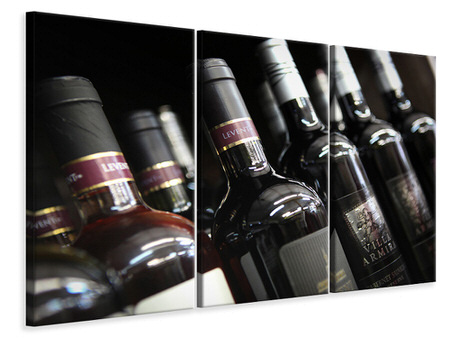 Canvastavla 3-delad Bottled Wines