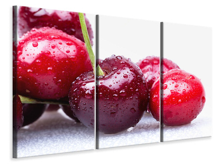 Canvastavla 3-delad Cherries