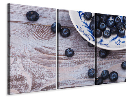 3 Piece Canvas Print Blueberries