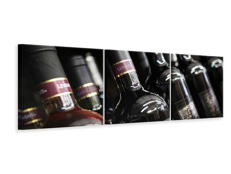 Canvastavla 3-delad Panoramic Bottled Wines