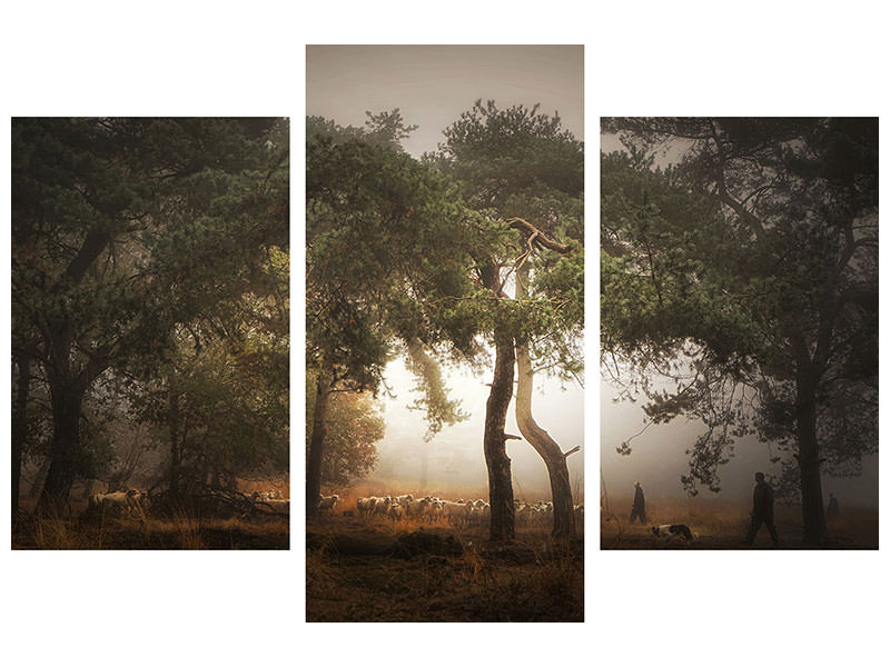 Modern 3 Piece Canvas Print Foggy Memory Of The Past III