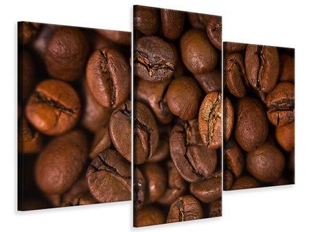 Modern - Canvastavla 3-delad Close Up Coffee Beans