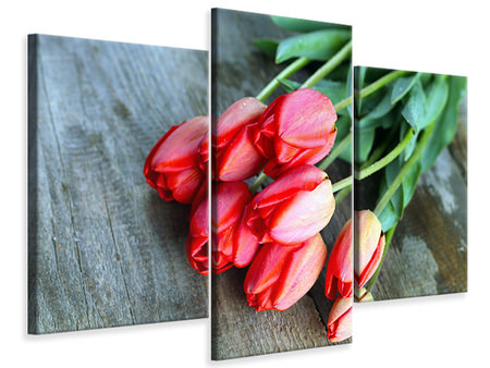 Modern 3 Piece Canvas Print The Red Tulip Bouquet