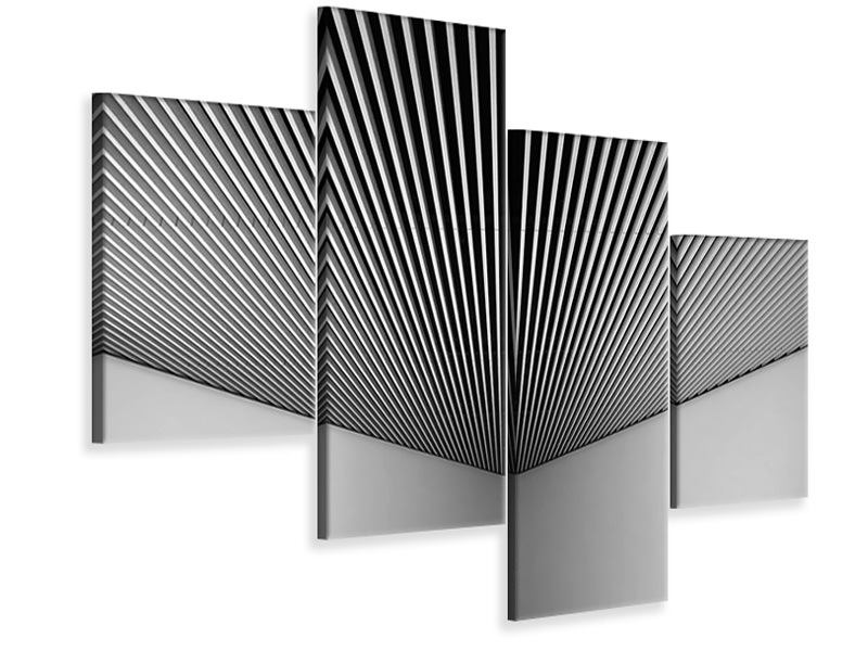 Modern 4 Piece Canvas Print Abstract Lines
