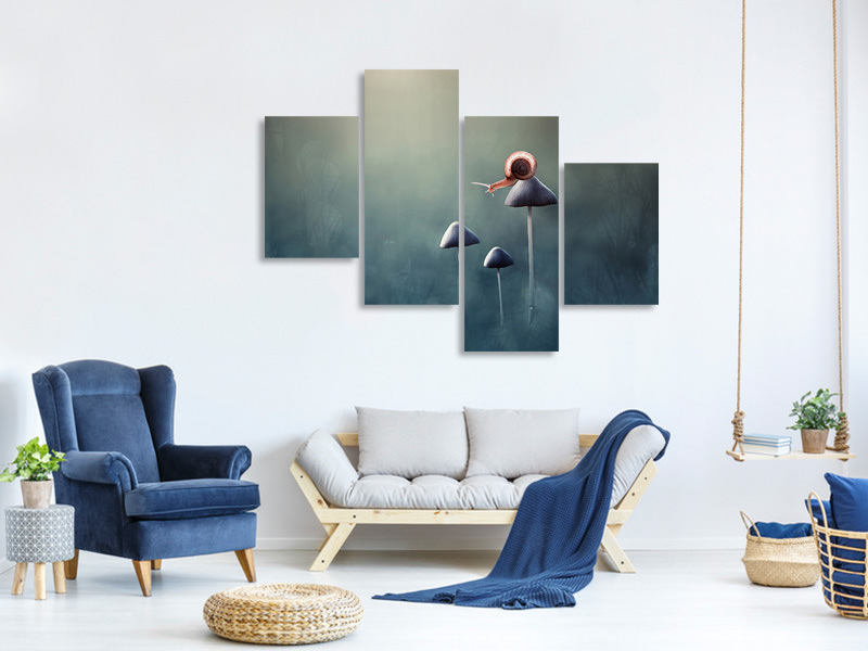 Modern 4 Piece Canvas Print Lonely