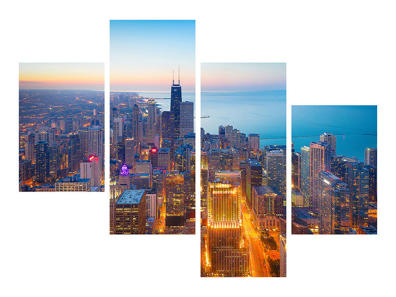 Modern 4 Piece Canvas Print The Magnificent Mile