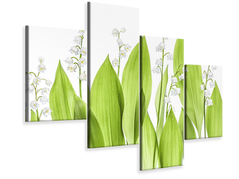 Modern - Canvastavla 4-delad Lily Of The Valley