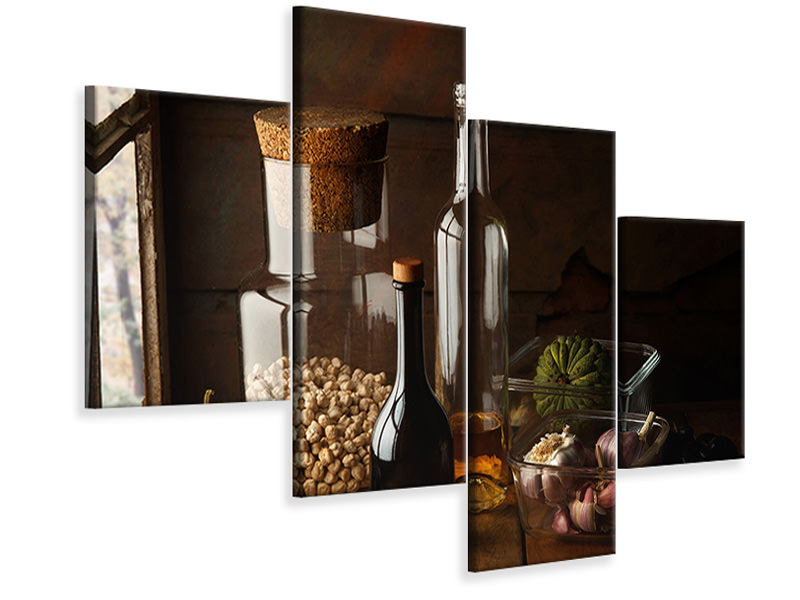 Modern 4 Piece Canvas Print Still Life With Chickpea