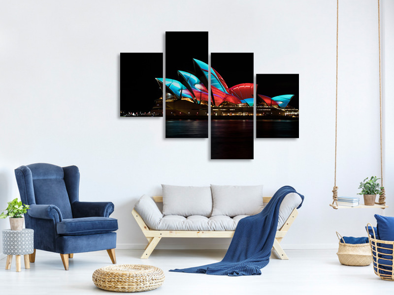 Modern 4 Piece Canvas Print Vivid
