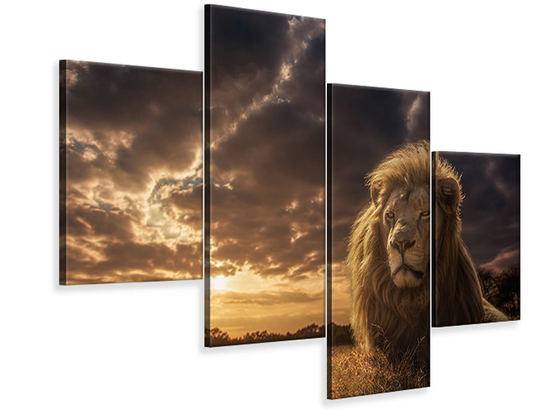 Modern 4 Piece Canvas Print Adventures On Savannah - The Lion King