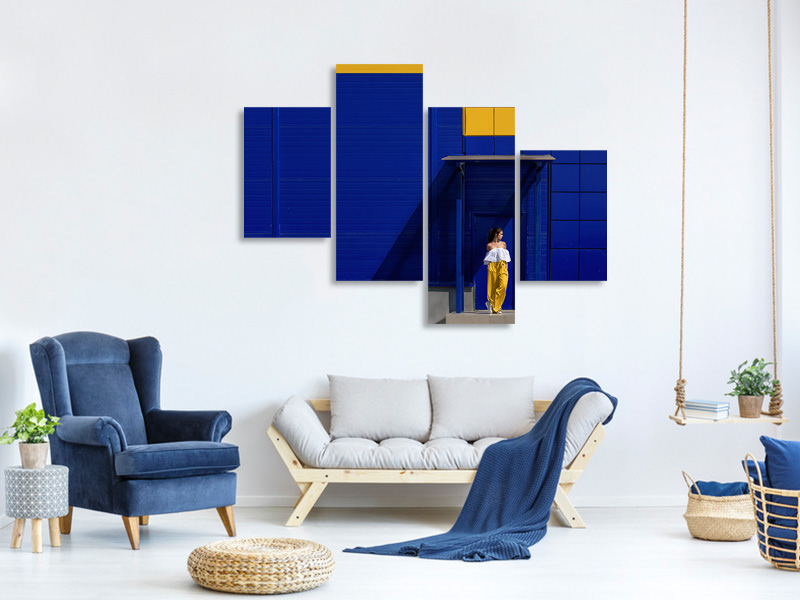 Modern 4 Piece Canvas Print Yellow And Blue II