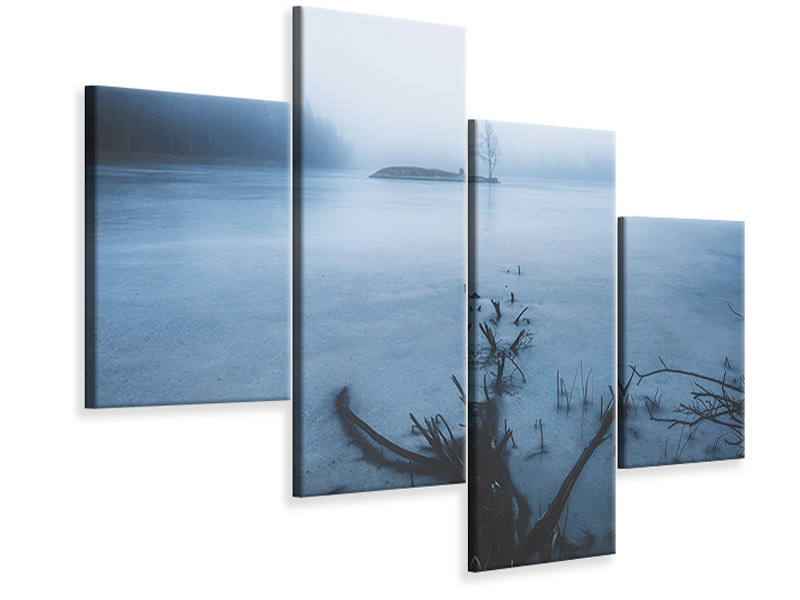 Modern 4 Piece Canvas Print Dead Tree Vs Alive Tree
