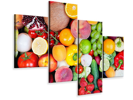 Modern 4 Piece Canvas Print Fresh Fruit