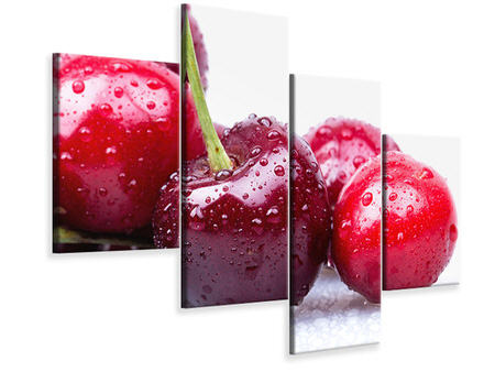 Modern 4 Piece Canvas Print Cherries