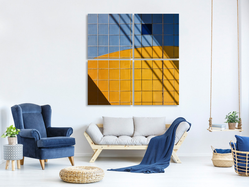 4 Piece Canvas Print Square Shadow