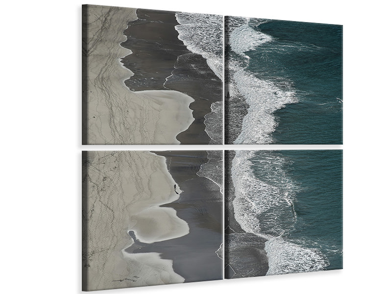 4 Piece Canvas Print Running Waves