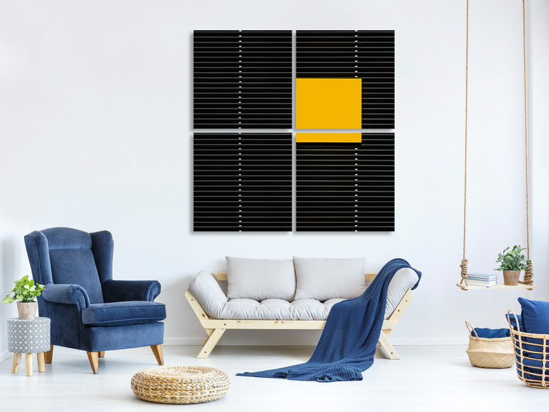 4 Piece Canvas Print Yellow Square