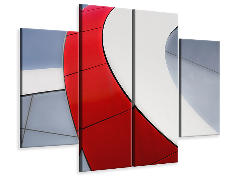4 Piece Canvas Print Red Bow