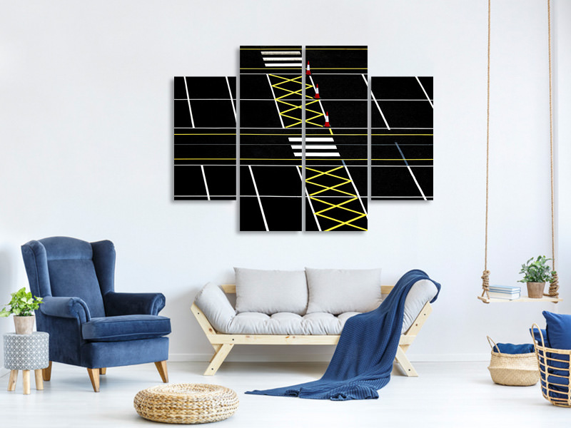 4 Piece Canvas Print Ped Crossing