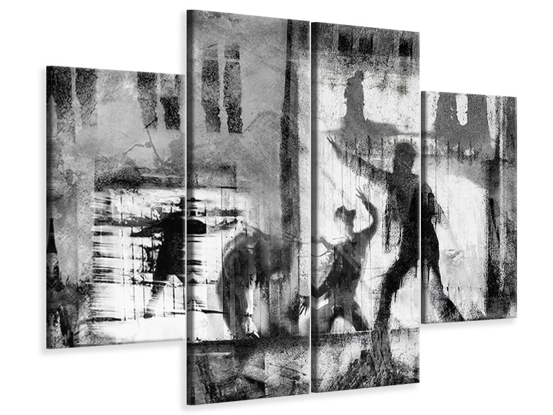 4 Piece Canvas Print All The Worlds A Stage