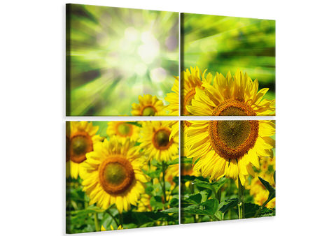 4 Piece Canvas Print The Sun And The Flowers