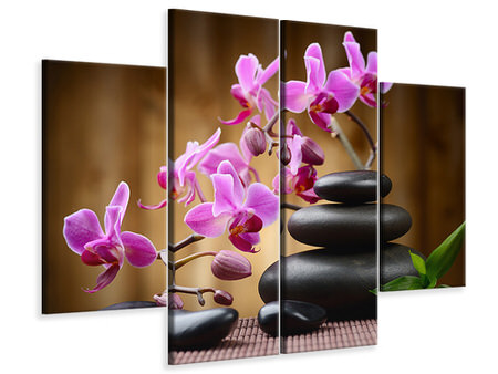 4 Piece Canvas Print Wellness Stones