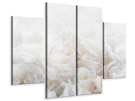 4 Piece Canvas Print White Roses In The Morning Dew