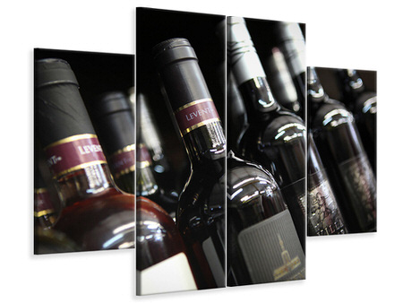 Canvastavla 4-delad Bottled Wines