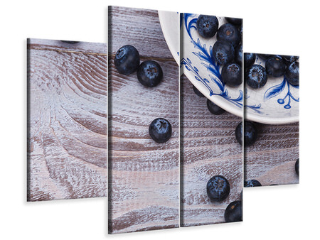 4 Piece Canvas Print Blueberries