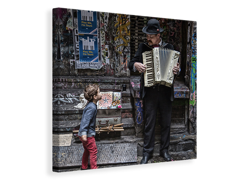 Canvas print The Busker And The Boy