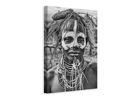 Canvas print A woman of the Karo tribe Omo ValleyEthiopia