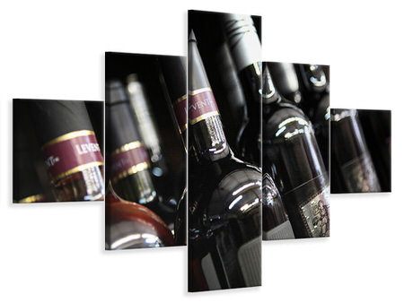 Canvastavla 5-delad Bottled Wines