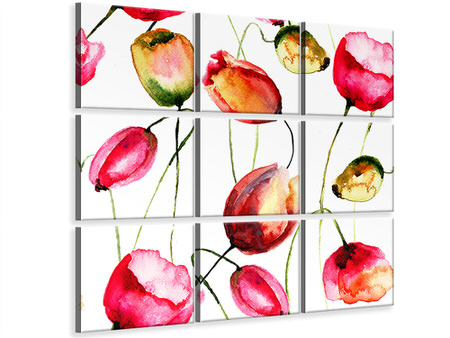 9 Piece Canvas Print Painting The Tulips